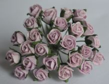 8mm PALE LILAC SEMI-OPEN ROSE BUDS Mulberry Paper Flowers